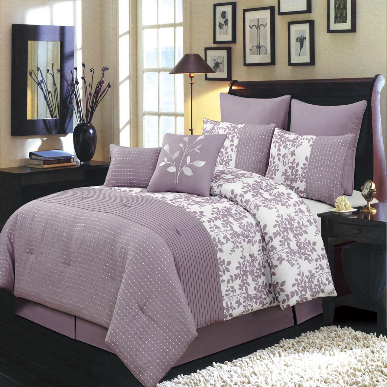 12 Piece Bliss Purple Bed In A Bag Bedding Set  Purple