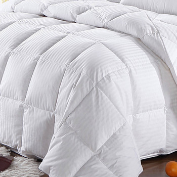 Striped-White-Goose-Down-Comforter-Oversized-closeup