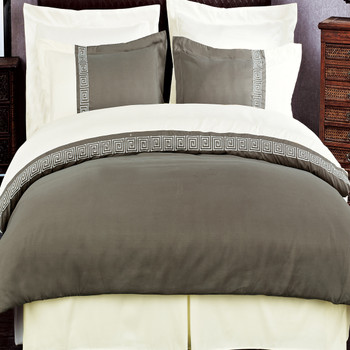 Taupe/Beige Astrid Embroidered 3-Piece Duvet Cover Sets