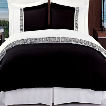 Black/White Astrid Embroidered 3-Piece Duvet Cover Sets