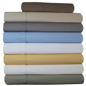 Wrinkle-Resistant Extra 22 Inch Deep Pocket Cotton Blend Bed Sheet Sets 650Tc Solid