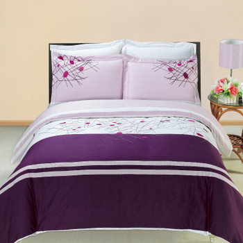 Cherry Embroidered 3-Piece Duvet Cover Sets