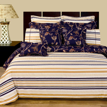 Lilian 11-Piece Bed in a bag 100% Cotton Reversible Bedding Set Opposite Side