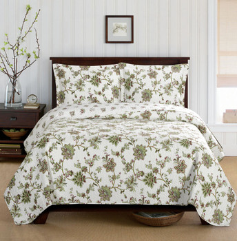 Carrie Floral Pattern Quilted Coverlet Mini Bed Quilt Set