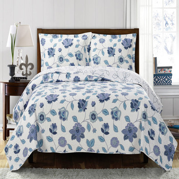 Miranda Solid With Spring Floral Print Quilted Coverlet Set