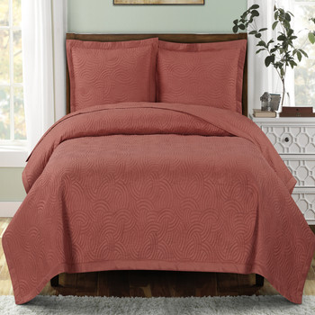 Emerson Ornamental Design Solid Quilted Coverlet Sets