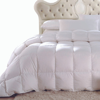 Striped White Duck Down Comforter Oversized All Season Fill Weight 300TC