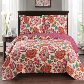 Tamiya Floral Pattern lightweight Oversized Quilted Coverlet Set