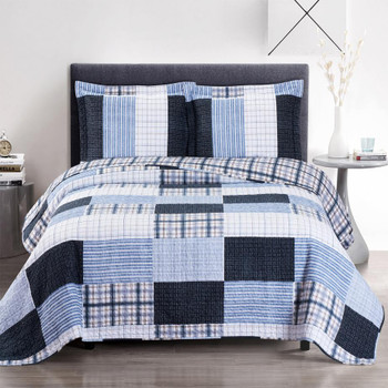 Zoe Reversible Blue Printed Patchwork Bed Quilt Set