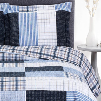 Zoe Reversible Blue Printed Patchwork Bed Quilt Set/ Detailed Image