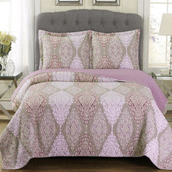 Quilted Jewel Patchwork Print Oversized Reversible Quilt Set