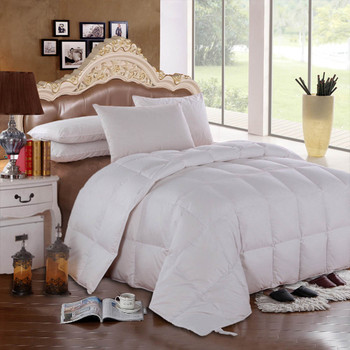 Solid White Goose Down Comforter Oversize All Season 600 Fb, 300 Thread count