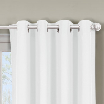 Close Up Luxor Grommet Top Curtain Panel- White