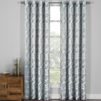 Catalina Garden Theme Jacquard Grommet Top Curtain Panels- Gray