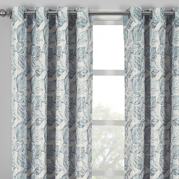 Closeup Catalina Garden Theme Jacquard Grommet Top Curtain Panels- Gray