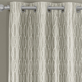 Closeup VoyageThermal Blackout Curtains Grommet Top Panels Jacquard Textured Beige