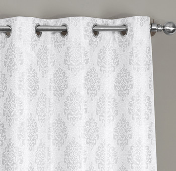 Closeup Paisley Blackout Jacquard Grommet Curtain- Off-White