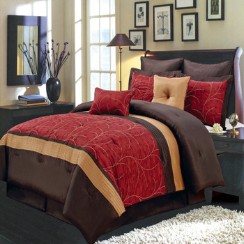Atlantis Embroidered Nature Inspired Multi-Piece Red Comforter Set