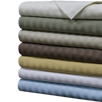 Premium Olympic Queen 100% Cotton 1000 Thread Count Sheets -Striped  With Colors