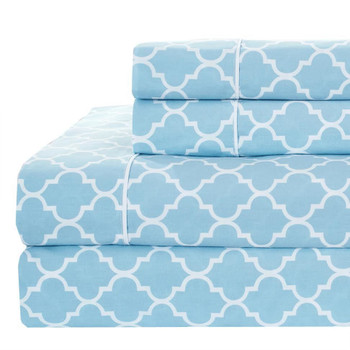 Printed Meridian Split King Adjustable Bed Sheet Sets 100% Cotton Percale