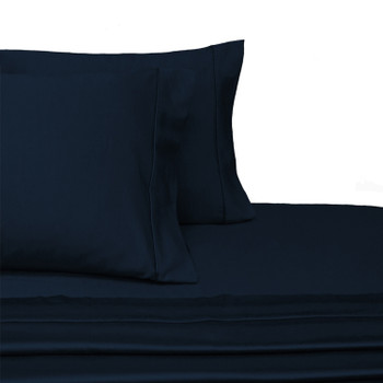 Navy Split Adjustable Dual King Sheets 100%Cotton 300 Thread count-Solid