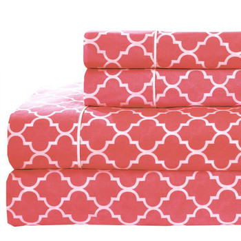 Coral Extra Long Twin Sheets Printed Meridian 100%Cotton Percale Sheet Set