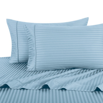 Blue Twin Extra Long Sheets 100% Cotton 500 Thread Count Damask Striped