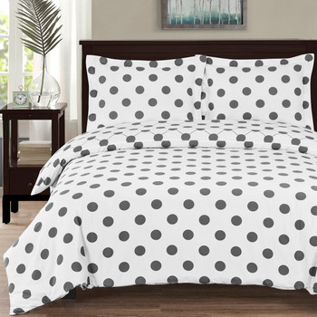 100% Cotton Percale Polka Dots Duvet Cover Set
