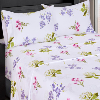 Split King Blossom 300 Thread count 100% Cotton Sheet Sets-closeup