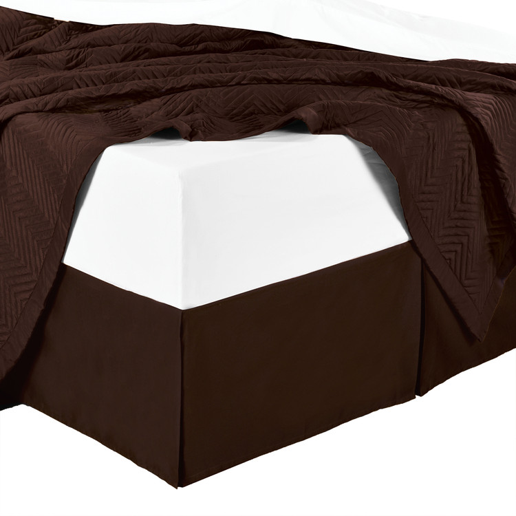Split Corner 100% Cotton Solid 300TC Bed Skirts - Chocolate
