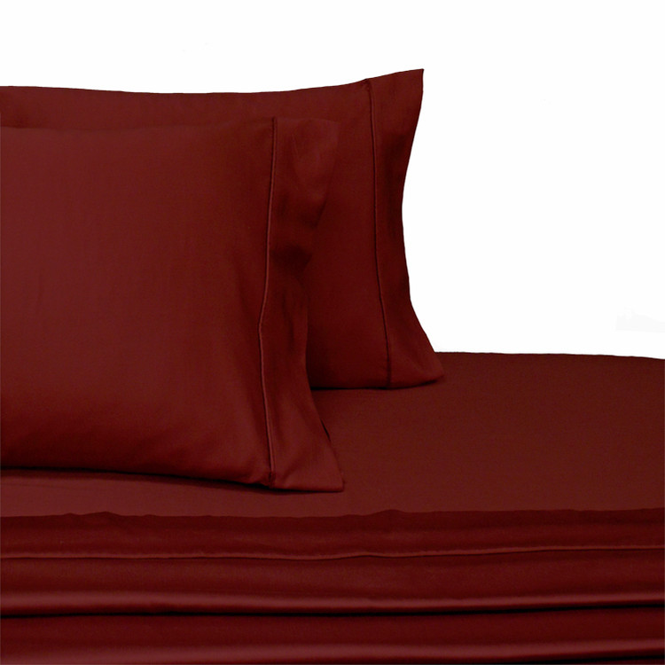 Split-Top-Sheets-Flex-Top-California-King-adjustable-beds-300TC-100-Cotton-Solid-Burgundy