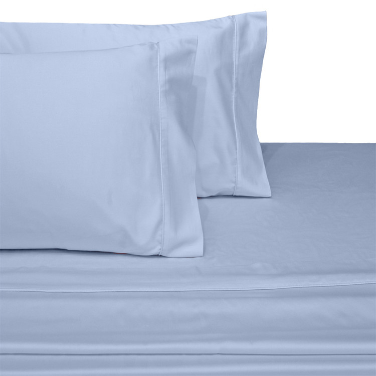 Split-Top-Sheets-Flex-Top-California-King-adjustable-beds-300TC-100-Cotton-Solid-Blue