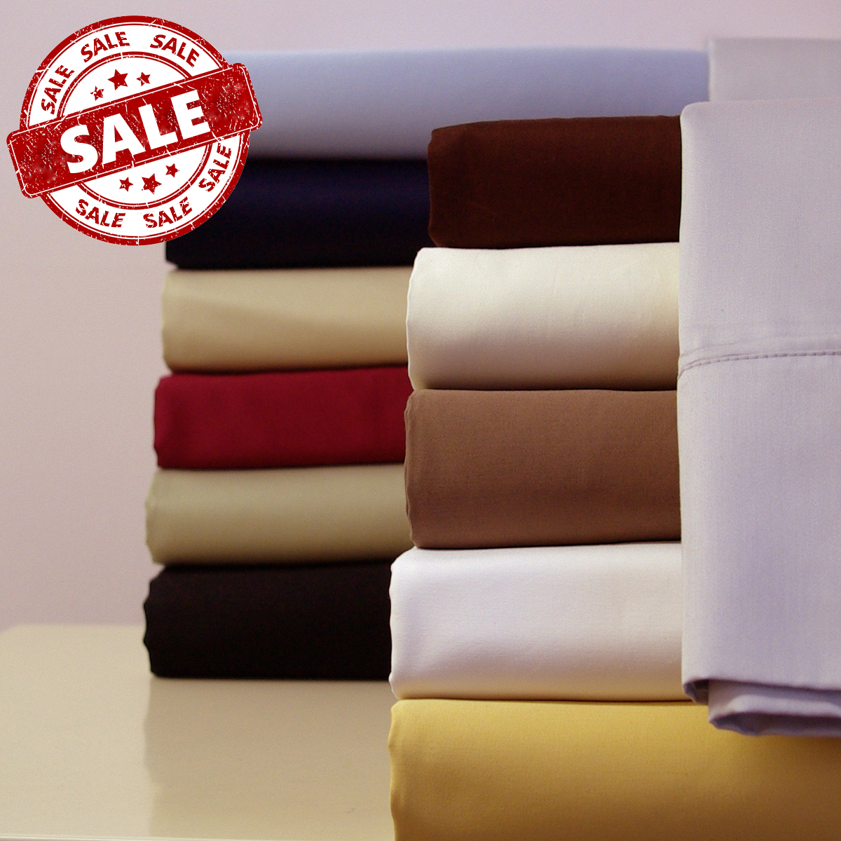 300 thread count solid Cotton Sateen Sheet set