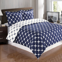 Bloomingdale Cotton Duvet Cover Set image Navy/White