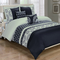5 Piece Black Chelsea 100% Cotton Duvet Cover Set