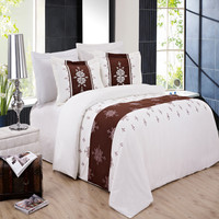Eleanor Duvet Cover Set Lavender, Chocolate and Ivory