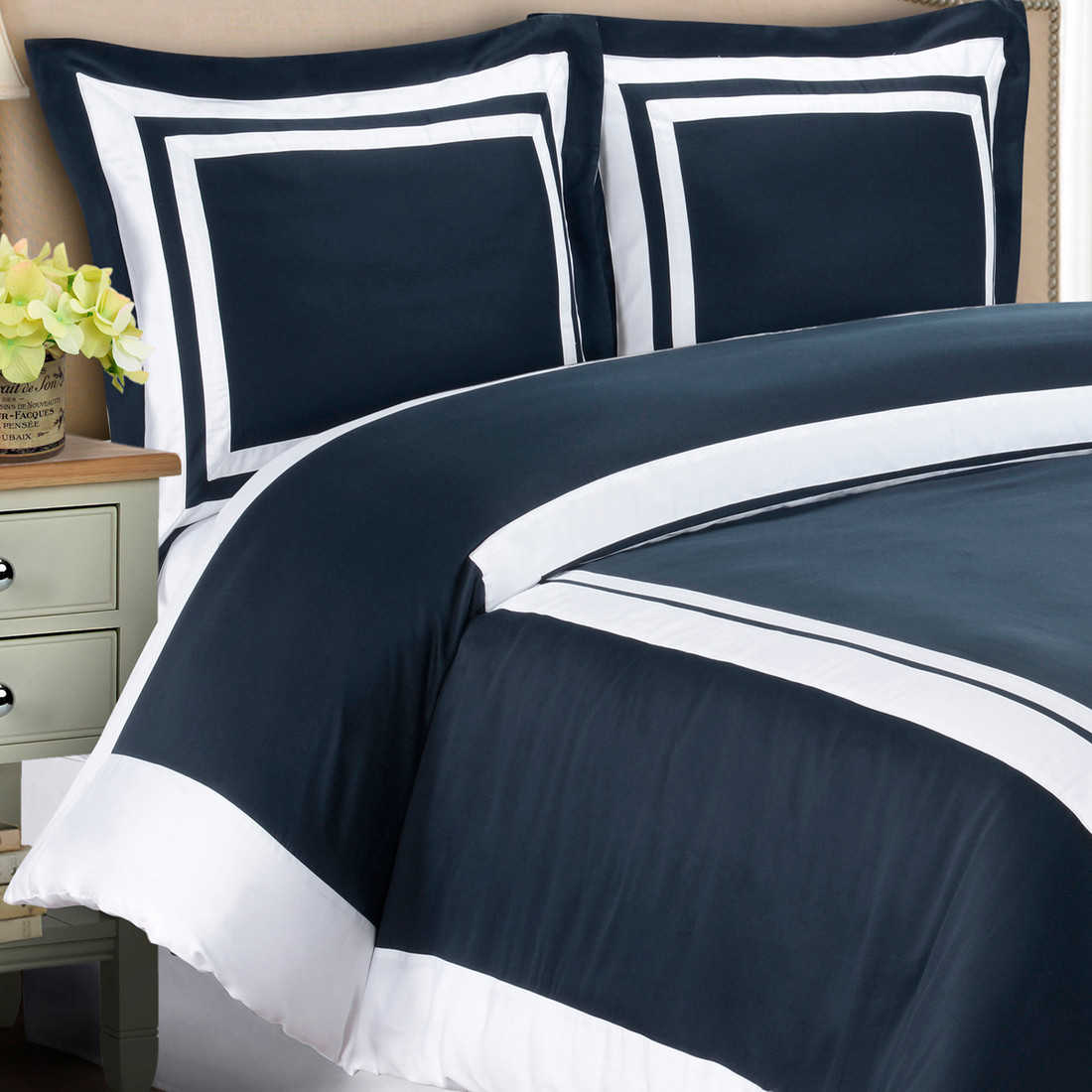 hotel 100 cotton duvet cover set image navywhite