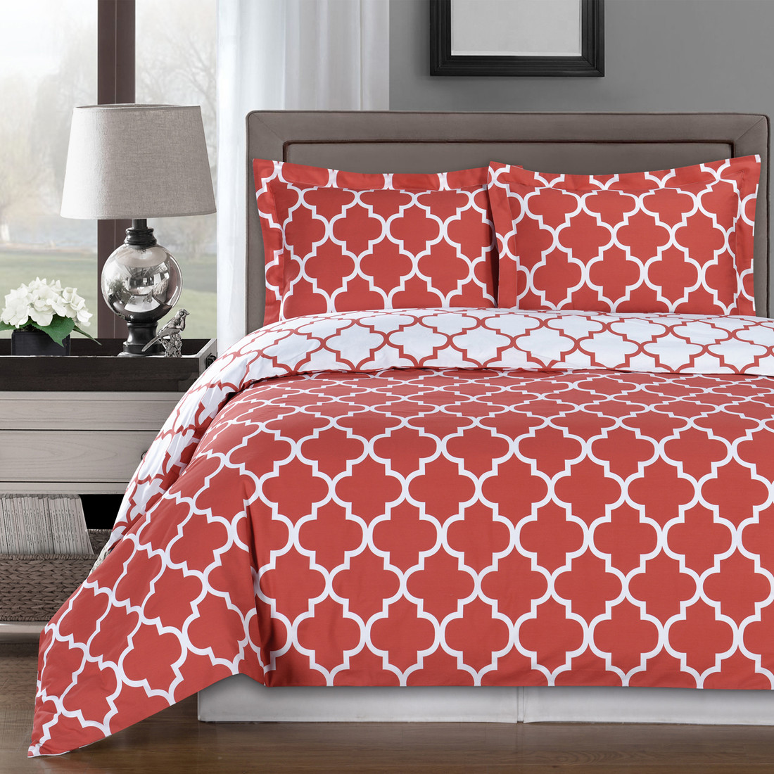 meridian 100 cotton duvet cover sets image coral