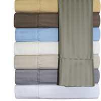 Wrinkle-Free Combed Cotton Sheets, Stripe 650TC, Pillowcases Col - Second Image With Colors