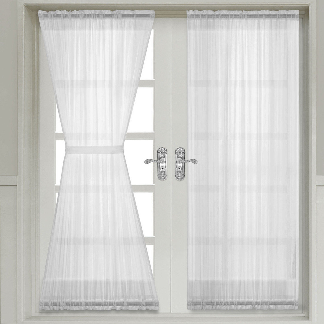 Door Panel Curtains : Abri crushed sheer door curtain panel single