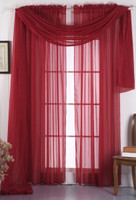 grommet sheer panels-Burgundy