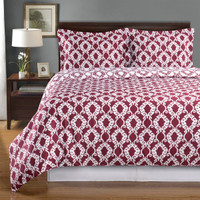 Sierra Silky Soft 100-Percent Cotton Reversible Duvet Cover Set Image /Burgundy