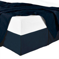 Split Corner 100% Cotton Solid 300TC Bed Skirts-Navy