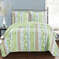 Modern Hayley Bright Spring Forest Design Quilt Set Image