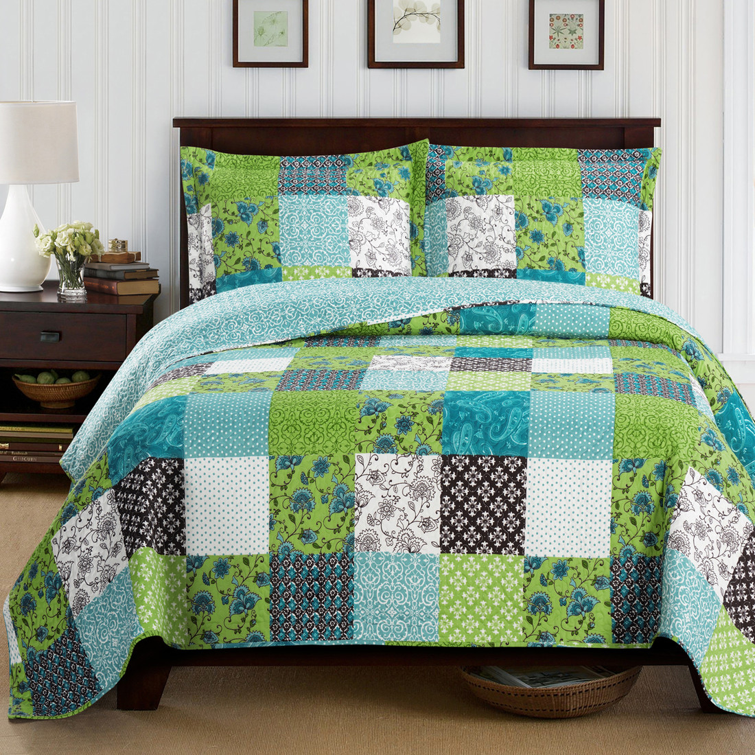 rebekah lightweight wrinklefree spring quilt set on sale - rebekah oversized garden spring quilt set image