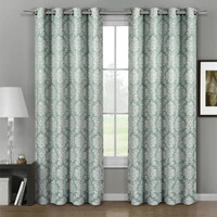 Aryanna Aryanna Classic Damask Floral Curtains Jacquard Grommet Panels (Set of 2) -Aqua