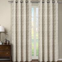 Tabitha Paisley Flower Curtains Jacquard Grommet Top Panels (Single) -Mink