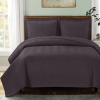Chervon Lightweight Microfiber Solid Mini Coverlet Set Charcoal