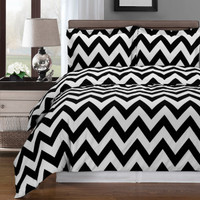 Chevron Cotton Duvet Cover Set Black/White