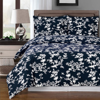 Lucy Navy/White Swirl 100% Cotton Duvet Cover Set